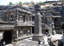 Ellora, near Ajanta, India - Massive temples with exquisite sculptures, carved out of sheer rock